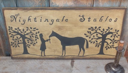 Primitive Wood Sign - Nightingale Stables