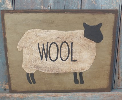 Primitive Wood Sign - Wool