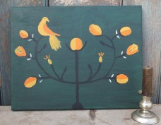 Primitive Fraktur Painting - Pear Tree