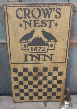 Primitive Wood Sign - Crows Nest Inn