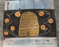Primitive Hooked Rug - Honeybee