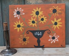 Primitive Folk Art Painting - Blackeye Susans
