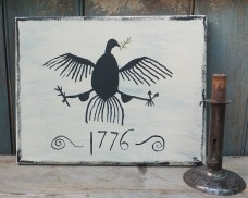 Primitive Folk Art Painting - Colonial Eagle