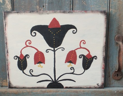 Primitive Fraktur Painting- Black Tulips