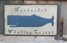 Primitive Wood Sign - Nantucket Whaling (Blue)