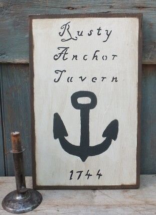 Primitive wood Sign - Rusty Anchor