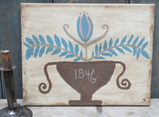 Primitive Folk Art Painting  - Brown Urn