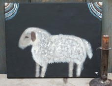 Primitive Folk Art Painting  - Prim Sheep