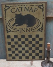 Primitive Wood Sign - Cat Nap Inn