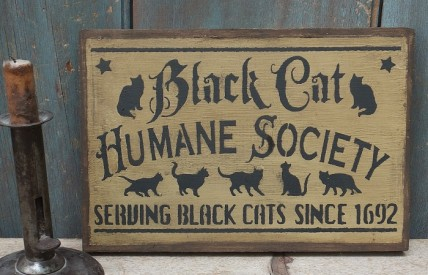 Primitive Wood Sign- Black Cat Humane Society