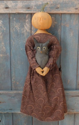 Primitive Colonial  Pumpkinhead Doll - Mosslyn