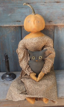 Primitive Colonial  Pumpkinhead Doll - Luna