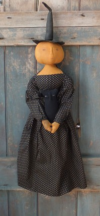 Primitive Colonial  Witch Pumpkinhead Doll - Noira