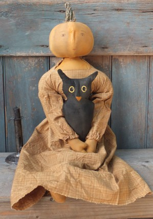 Primitive Colonial Pumpkinhead Doll - Marigold