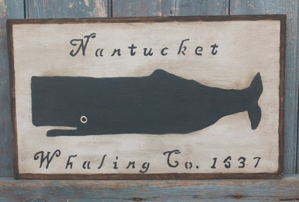 Primitive Wood Sign - Nantucket Whaling (Gray)