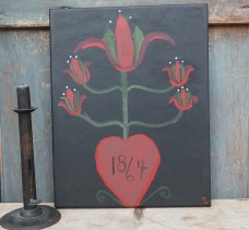 Folk Art Painting - Tulip Heart