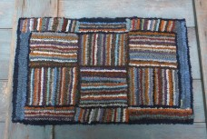 Primitive Hooked Rug  - Log Cabins (Blue)