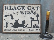Wood Sign ~ Black Cat Daycare