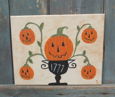 Folk Art Painting~ Jack- O - Lantern Vines