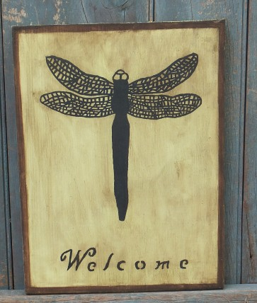 Primitive Wood Sign - Dragonfly