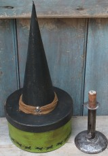 Primitive Witch Hat Box - Poison Green