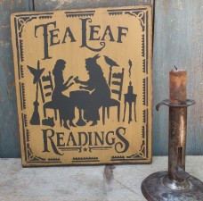 Primitive Wood Sign - Tea Leaf Readings (mustard)
